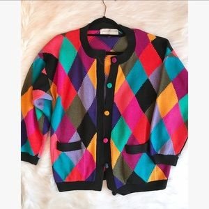 Peruvian Connection Rainbow Diamond Cardigan